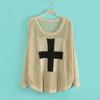 New Style Hollow Out Striped Cross Sweater