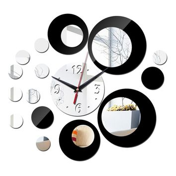 hot sale diy Acrylic mirror wall clock stickers Modern decor Living Room gift home furniture sticker watch free shipping