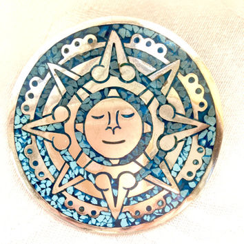 Sterling Silver Sun Brooch, Mosaic Turquoise Inlay, Mexico Silver, Vintage Sun Pin, Celestial Jewelry