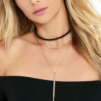 El Paso Black and Gold Layered Choker Necklace