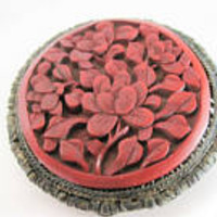 Cinnabar Dress Clip, Signed China Silver, Deeply Carved Pendant Clip