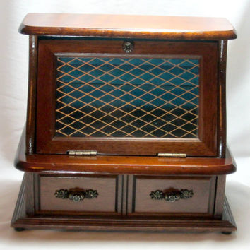 Wood Musical Jewelry Box Secretary Jewelry Chest Teal Lining