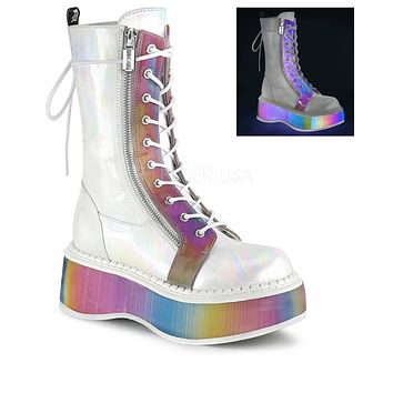 Vegan Leather-Rainbow Reflective Platform Lace Up Boot
