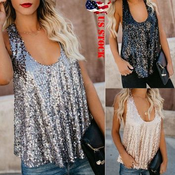 US Sequin Women's Tank Top Paillette Vest Camisole Bling Blouse Sleeveless Tops