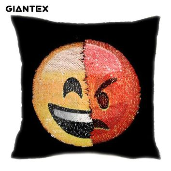GIANTEX Sequin Changing Face Emoji Cushion Cover Decorative Mermaid Pillowcase Home Decor Sofa Throw Pillow Cover 40x40cm U1338