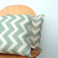 Mint Chevron Pattern 16x16 inch Pillow Cover,  Throw Cushion Bull Denim, Urban, Modern, Retro