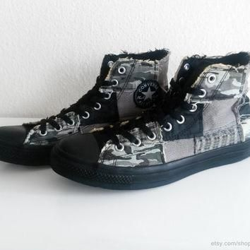 patchwork converse all stars high tops black grey camouflage tweed houndstooth