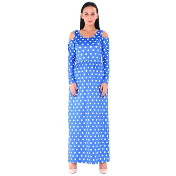 CutOut Shoulder Long Polka Dress