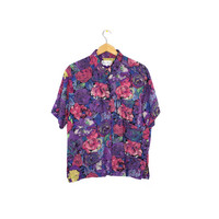 90s floral rayon shirt - vintage 1990s - short sleeve button down - colorful - flowers