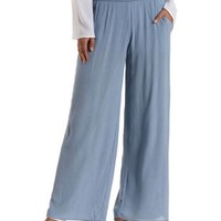 Lt Blue Gauzy High-Waisted Palazzo Pants by Charlotte Russe