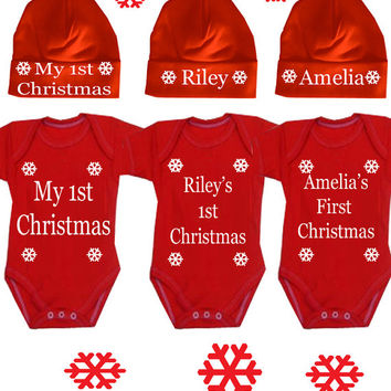 Christmas Santa hat and bodysuit set or DESIGN YOUR OWN