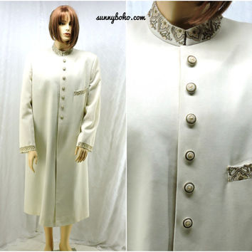 Vintage long formal evening coat size L 14 / 16. Silk cream embroidered elegant evening opera coat. Formal evening wear SunnybohoVintage