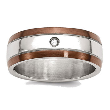Men's Stainless Steel Chocolate IP-plated Diamond Polished Wedding Band Ring: 10