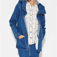 WASHED DENIM ANORAK JACKET