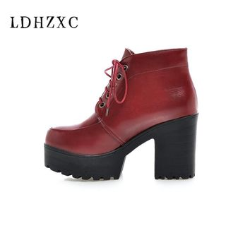LDHZXC 2018 new Lace-Up Sexy Women Boots Fashion Platform punk high square heels Black Buckle Ankle boots Plus Size 34-43