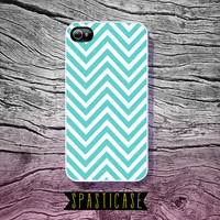 Tiffany Blue Chevron iPhone Case for iPhone 4 or 4S Aqua Blue-Green Pattern - Plastic or Silicone Rubber Case