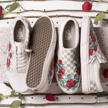 Vans Checkerboard Slip-On Classic Vintage Rose Embroidered Fashion Casual Shoes F