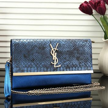 YSL Women Fashion New Snake Texture Print Chain Leather Personality Shoulder Bag