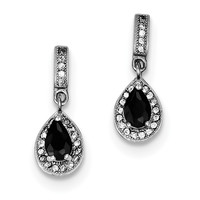 Sterling Silver Rhodium-plated Black & White CZ Pear Dngle Post Earrings