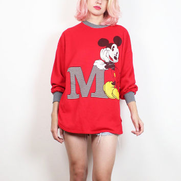 Vintage 1980s Mickey Mouse Sweatshirt Red Black Striped Disney M Cartoon Novelty Worn Cracked Screen Print Tshirt 80s Jumper M L Large XL