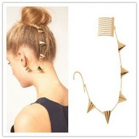 Rivet Chain Earcuff - Hair Piece