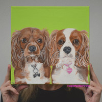 Cavalier King Charles Spaniel Custom Pet Portrait, Dog Portrait, Dog Painting, Dog Art, small dog art