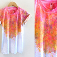 Splash Dyed Hand PAINTED Crew Neck Pinned Rolled by twostringjane