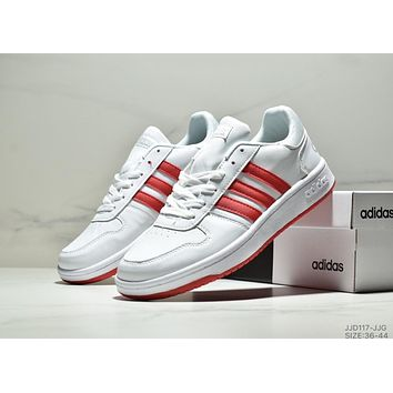 ADIDAS HOOPS 2.0 2019 new casual low men and women sports shoes White+red