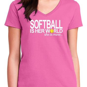 Softball Mom Shirts; Softball Is Her World She Is Mine Ladies V-Neck Cotton Short Sleeve T Shirt