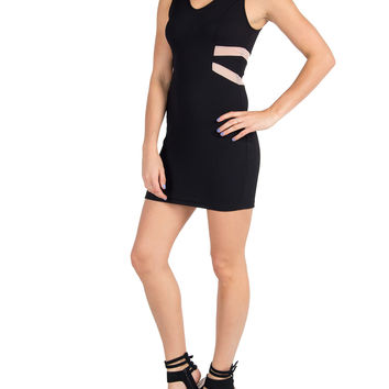 Lush Clothing - Slit and Meshed Little Black Bodycon Dress