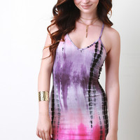 Tie Dye V-Neck Mini Dress
