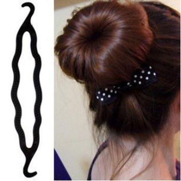DCCKWJ7 1PCS Magic Braider Hair Twist Styling Tools Clip Stick Donut Hair Bun Maker Braid Tool Black Barrette Hair Accessories Hairstyle