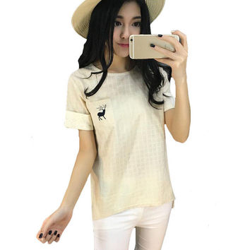 New Casual Women Korean Style O-neck Embroidery T shirts Female Short Sleeve Cotton Linen Tshirt Plus Size Plaid Top 70741 SM6