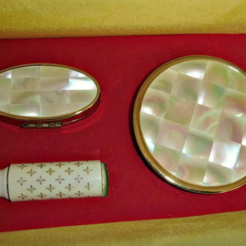 Vintage Max Factor MOP Compact Set 50's Mother of Pearl Boxed Gift Set Hollywood Hi Society Lipstick Case, Lipstick & Powder Compact Unused