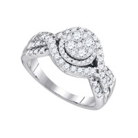 Diamond Fashion Bridal Ring in 14k White Gold 0.99 ctw
