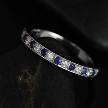Grace 14kt White Gold Blue Sapphire and Diamonds WITH Milgrain HALFWAY Eternity Band (Other Metals and Stone Options Available)