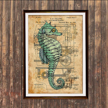 Seahorse print Nautical art Steampunk poster Patent print SOL218