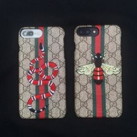 GUCCI The iphone6lv7plus the European and American brands of the luxury honeybee iphone 6s case leather printing protection sleeve For Black Friday