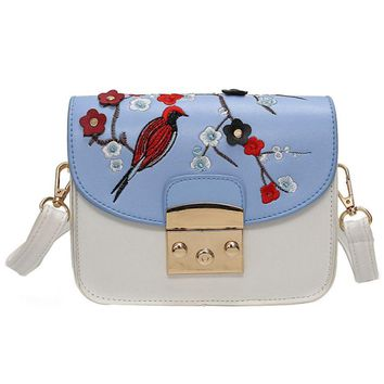 Floral embroidery bag small crossbody shoulder purse