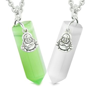 Happy Buddha Love Couple Best Friends Crystal Point Amulets White Neon Green Simulated Cats Eye Necklaces