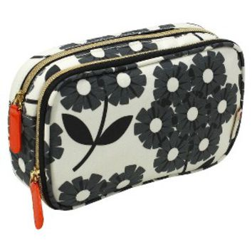 Orla Kiely Graphite Double Zip Beauty Organizer