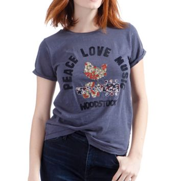 Lucky Brand Embroidered Woodstock Tee American Navy