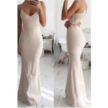 Gorgeous Light Champagne Mermaid Prom Dress With Sheer Lace Back