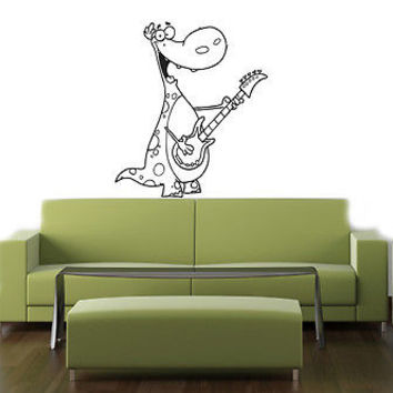 DINOSAUR WITH GUITAR BABY ROOM NURSERY  WALL VINYL STICKER ART MURAL B371