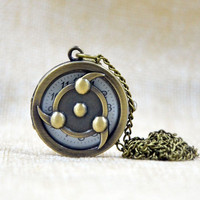 Hollow Cool Naruto Bronze Retro Quartz Pocket Watch Necklace Chain Pendant Boys
