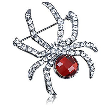 Swarovski Crystal Elements Synthetic Ruby Red Gem Body Petite Spider Fashion Pin Brooch
