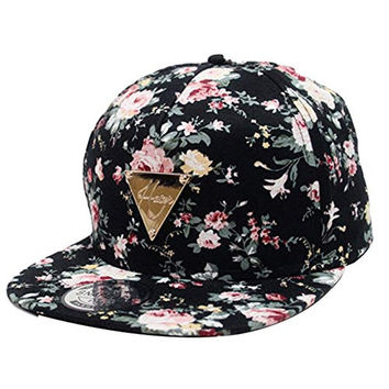 Zeagoo Floral Flower Snapback Hip-Hop Hat Flat Peaked Adjustable Baseball Cap
