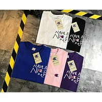 Champion cursive letter have a nice day couple short-sleeved T-shirt F-XMCP-YC