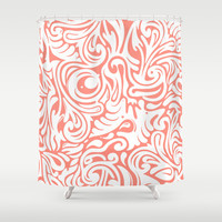 Organics in Coral Shower Curtain by House of Jennifer
