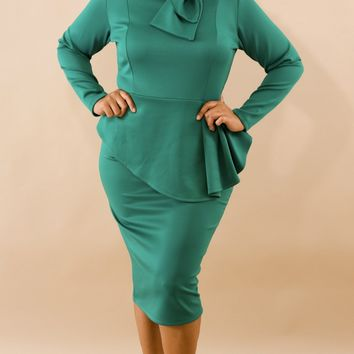 Tiffany Long Sleeve Bow Embellished Peplum Midi Dress